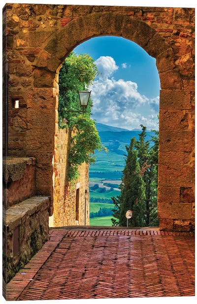 Arch With The View Of The Tuscan Countryside, Pienza, Tuscany, Italy Canvas Art Print