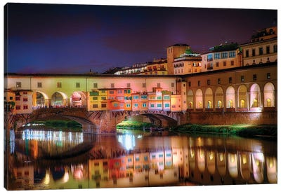 Arno River Night Reflections At Ponte Vecchio, Florence, Tuscany, Italy Canvas Art Print