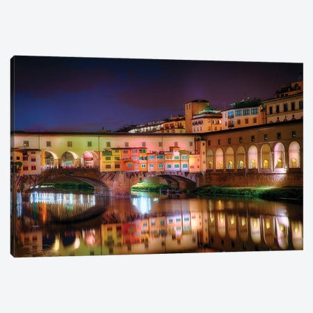 Arno River Night Reflections At Ponte Vecchio, Florence, Tuscany, Italy Canvas Print #GOZ244} by George Oze Canvas Wall Art