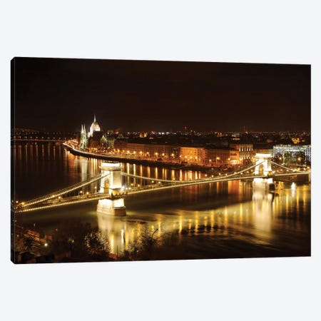 Budapest Nightscape With The Chain Bridge And The House Of The Parliement Canvas Print #GOZ247} by George Oze Canvas Artwork