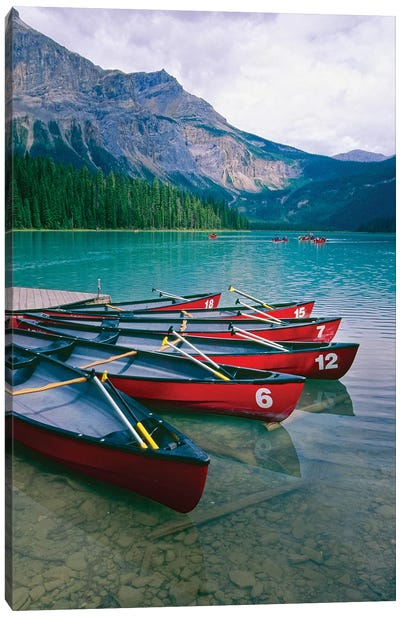 Canoes At A Dock, Emerald Lake, British Columbia, Canada Canvas Art Print