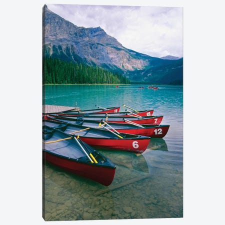 Canoes At A Dock, Emerald Lake, British Columbia, Canada Canvas Print #GOZ248} by George Oze Canvas Art Print