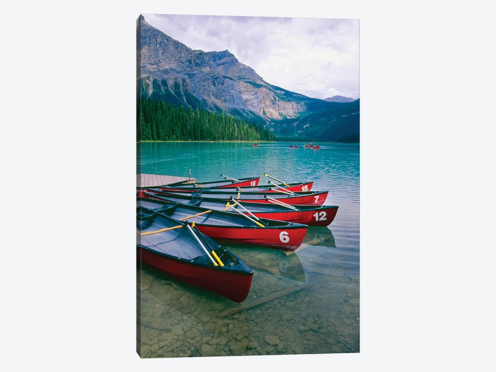 Canoes At A Dock, Emerald Lake, British Columbia, Canada by George Oze 1-piece Canvas Wall Art
