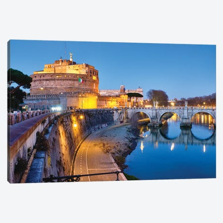 Castle Of The Holy Angel Lit Up At Dusk, Rome, Lazio, Italy Canvas Print #GOZ249} by George Oze Canvas Print
