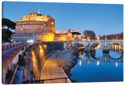 Castle Of The Holy Angel Lit Up At Dusk, Rome, Lazio, Italy Canvas Art Print