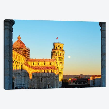 Church Sqaure Of Pisa With The Cathedral And Leaning, Tower, Tuscany, Italy Canvas Print #GOZ250} by George Oze Canvas Art