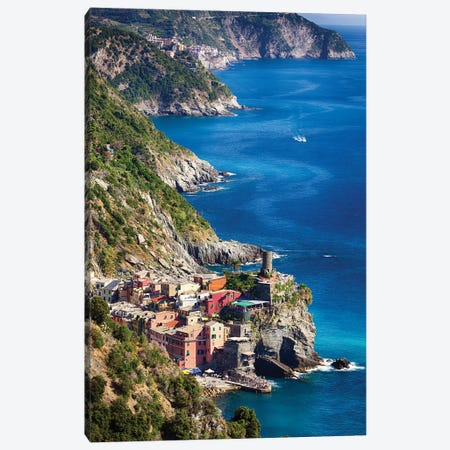 Cinque Terre Towns On The Cliffs, Vernazza And Corniglia, Liguria, Italy Canvas Print #GOZ251} by George Oze Canvas Wall Art