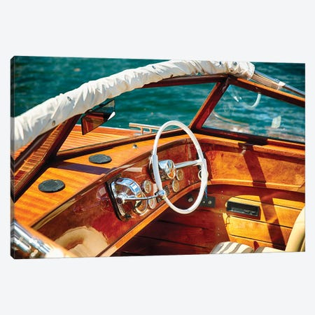 Classic Motorboat Steering Wheel And Controls, Lake Como, Italy 3-Piece Canvas #GOZ252} by George Oze Canvas Art