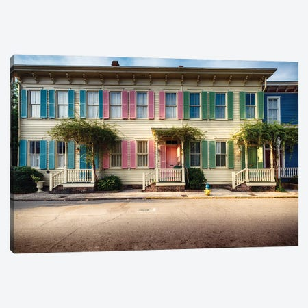 Colorful Historic Houses, Savannah, Georgia Canvas Print #GOZ254} by George Oze Art Print