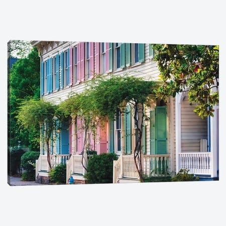 Colorful Historic Row Houses, Savannah, Georgia Canvas Print #GOZ255} by George Oze Art Print