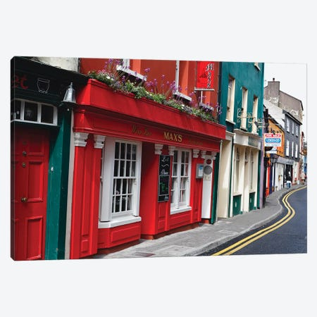 Colorful Narrow Street In Kinsale, County Cork, Republic Of Ireland Canvas Print #GOZ256} by George Oze Canvas Print