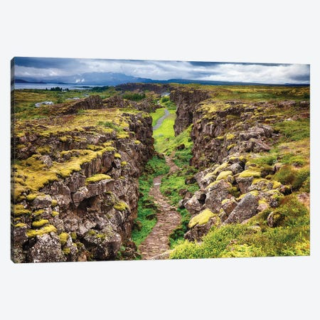Fault Line Separating America From Eurasia, Thingvellir, Iceland Canvas Print #GOZ258} by George Oze Canvas Wall Art