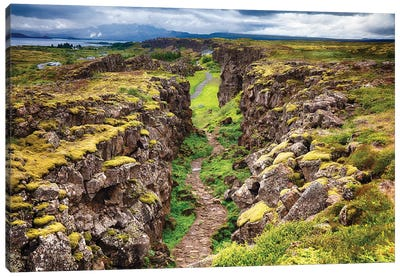 Fault Line Separating America From Eurasia, Thingvellir, Iceland Canvas Art Print