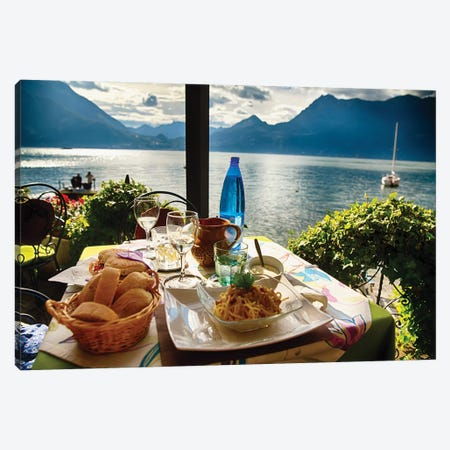Food On A Restaurant Table With A Lake View Canvas Print #GOZ259} by George Oze Canvas Artwork