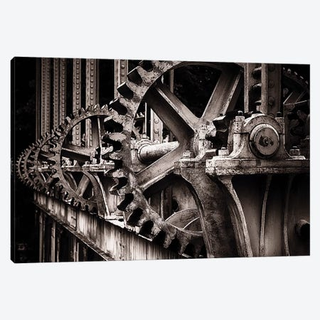 Gear Of A Sluice Gate On The Rhone River 3-Piece Canvas #GOZ260} by George Oze Canvas Art Print