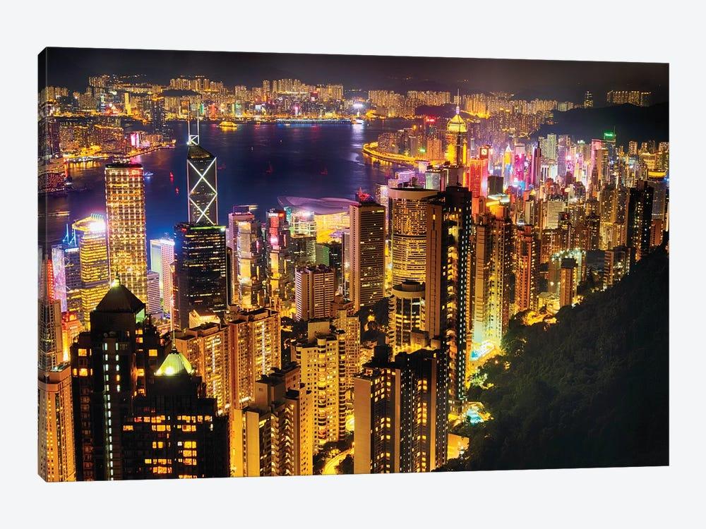 Hong Kong Night Skyline by George Oze 1-piece Canvas Art Print
