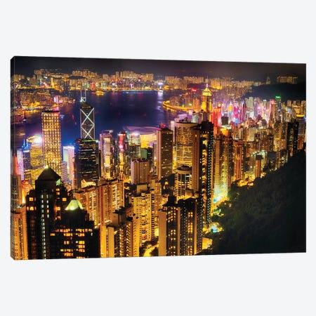 Hong Kong Night Skyline Canvas Print #GOZ261} by George Oze Canvas Art Print