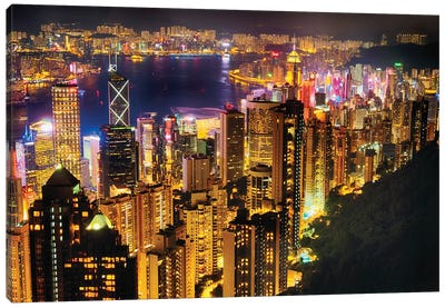 Hong Kong Night Skyline Canvas Art Print