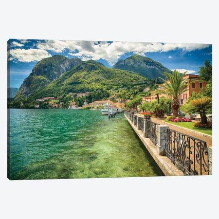 Lakeshore Promenade View, Menaggio, Lake Como, Lombardy, Italy. 3-Piece Canvas #GOZ263} by George Oze Canvas Print