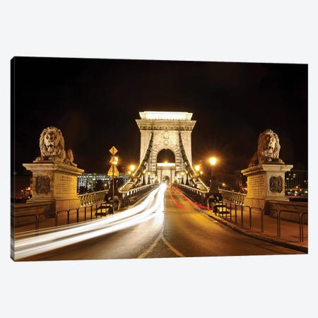 Lion Sculptures Of The Chain Bridge At Night, Budapest, Hungary Canvas Print #GOZ264} by George Oze Canvas Artwork