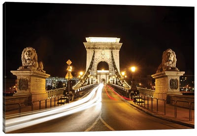 Lion Sculptures Of The Chain Bridge At Night, Budapest, Hungary Canvas Art Print