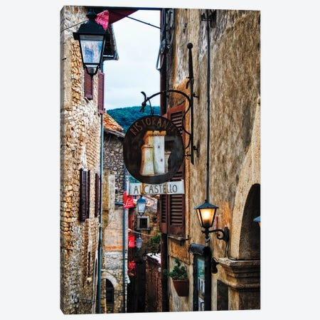 Narrow Medieval Street With Signs And Lamps, Sermoneta, Italy Canvas Print #GOZ268} by George Oze Art Print
