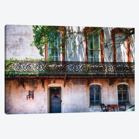 Old House With A Wrought Iron Balcony, Savannah, Georgia Canvas Print #GOZ270} by George Oze Canvas Artwork