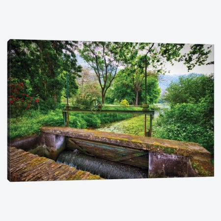 Old Lock On The Ninfa Creek, Latina, Italy Canvas Print #GOZ271} by George Oze Canvas Wall Art