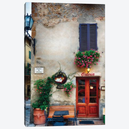 Quaint Restaurant Building In Pienza, Tuscany, Italy Canvas Print #GOZ275} by George Oze Canvas Print
