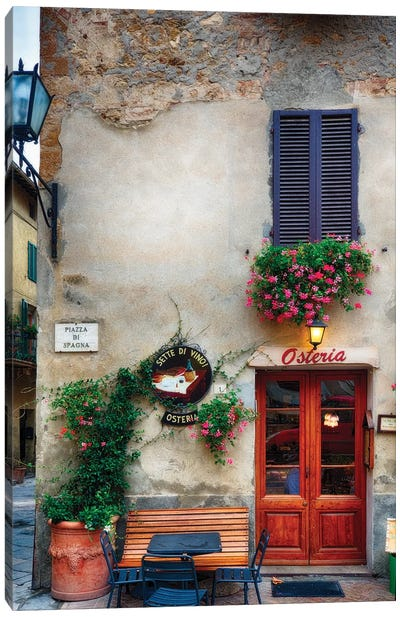 Quaint Restaurant Building In Pienza, Tuscany, Italy Canvas Art Print