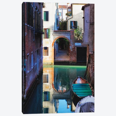 Reflection In A Canal, Venice, Italy 3-Piece Canvas #GOZ276} by George Oze Art Print