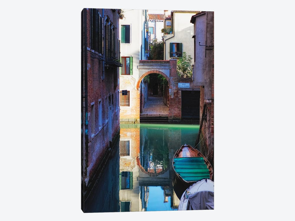 Reflection In A Canal, Venice, Italy by George Oze 1-piece Canvas Art Print