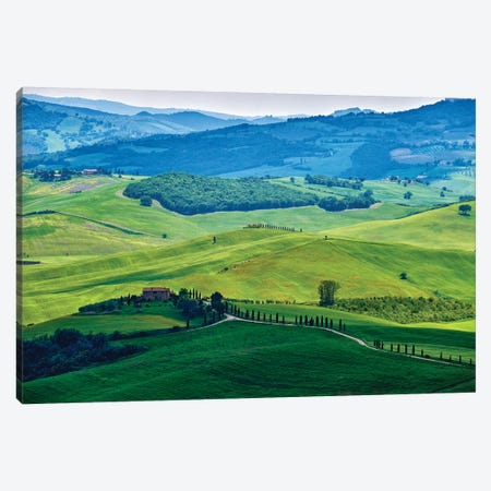 Rolling Hills With Farms, Val D'Orcia, Tuscany, Italy Canvas Print #GOZ277} by George Oze Canvas Art Print