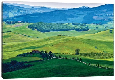 Rolling Hills With Farms, Val D'Orcia, Tuscany, Italy Canvas Art Print