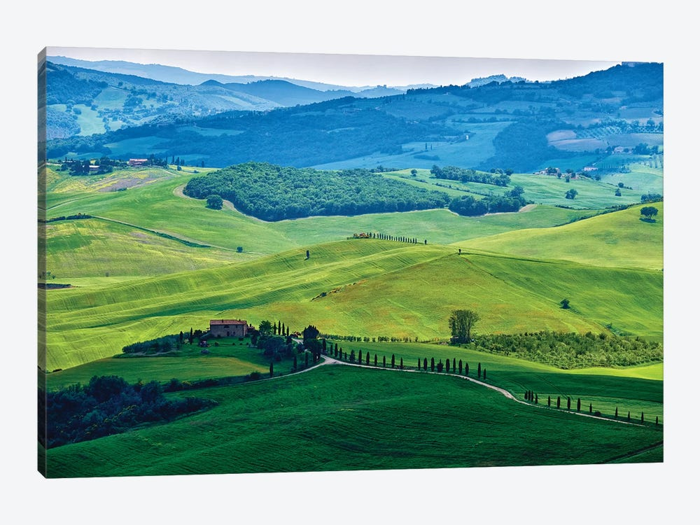 Rolling Hills With Farms, Val D'Orcia, Tuscany, Italy by George Oze 1-piece Canvas Art