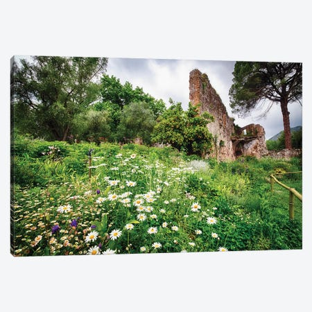 Ruins In A Garden With Flowers And Orange Tree Canvas Print #GOZ278} by George Oze Canvas Artwork