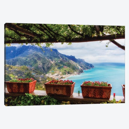 Scenic View From Under A Trellis, Ravello, Amalfi Coast, Campania, Italy Canvas Print #GOZ279} by George Oze Canvas Artwork