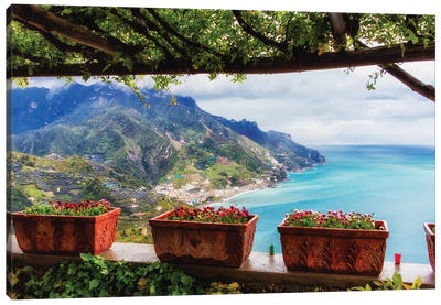 Scenic View From Under A Trellis, Ravello, Amalfi Coast, Campania, Italy Canvas Art Print