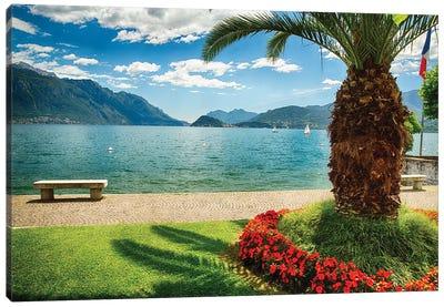Scenic View Of Lake Como From Park, Maggiore, Lake Como, Lombardy, Italy Canvas Art Print