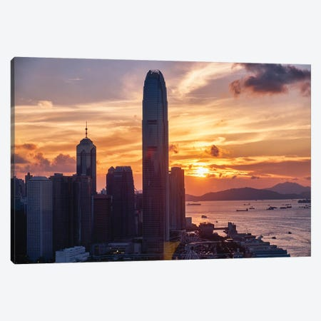 Skyscrapers Of The International Commerce Center At Sunset, Hong Kong Canvas Print #GOZ282} by George Oze Art Print