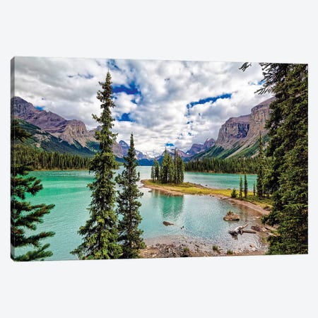 Spirit Island View, Maligne Lake, Alberta, Canada Canvas Print #GOZ284} by George Oze Canvas Art