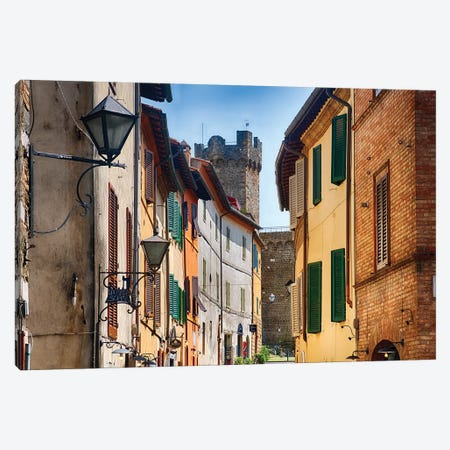 Street In Montalcino With The Castle Tower, Tuscany Italy Canvas Print #GOZ285} by George Oze Canvas Artwork