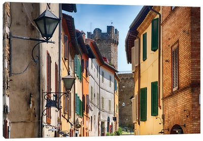 Street In Montalcino With The Castle Tower, Tuscany Italy Canvas Art Print