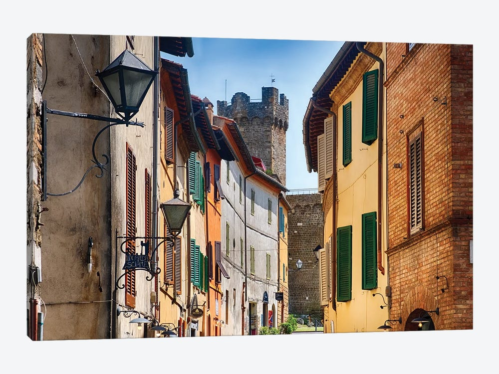 Street In Montalcino With The Castle Tower, Tuscany Italy by George Oze 1-piece Canvas Print