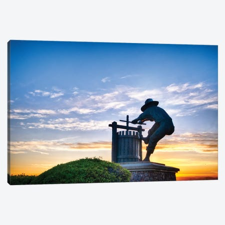 The Grape Crusher Statue Agains Dramatic Sky, Napa Valley, California Canvas Print #GOZ286} by George Oze Canvas Artwork
