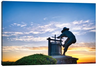 The Grape Crusher Statue Agains Dramatic Sky, Napa Valley, California Canvas Art Print