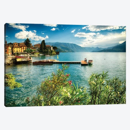 Varenna Harbor View Canvas Print #GOZ287} by George Oze Canvas Art