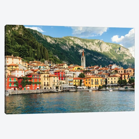 View Of A Town On Lake Como, Varenna, Lombardy, Italy 3-Piece Canvas #GOZ288} by George Oze Canvas Print