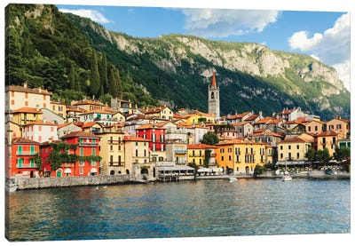 View Of A Town On Lake Como, Varenna, Lombardy, Italy Canvas Art Print