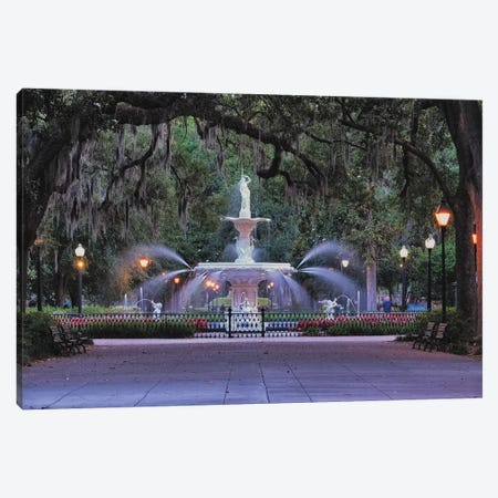 View Of The Forsyth Park Fountain Through Spanish Moss Draped Oak Trees Canvas Print #GOZ289} by George Oze Canvas Art Print